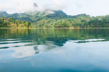 Beautiful mountains and lake   in Ratchaprapha Dam at Khao Sok N