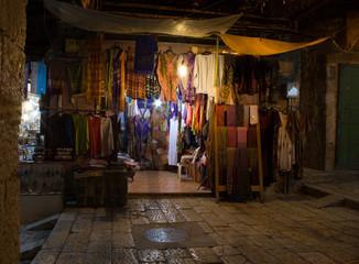Bazaar in old city Jerusalem at night
