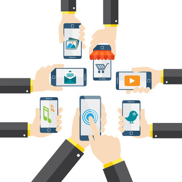 Hand holding mobile phone vector illustration apps concept