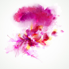 The pink watercolor stain with floral.