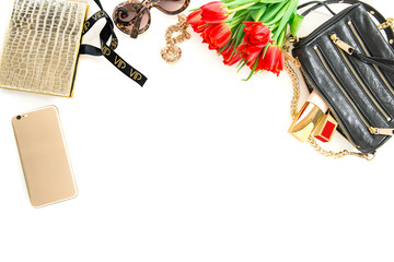 Fashion mock up with accessories, flowers, cosmetics. Online sho