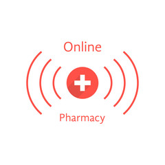 red online pharmacy logotype with wave