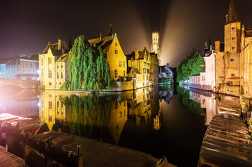 Poster de jardin Bruges Brugge by Night Reflected in the Water