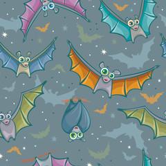 Seamless pattern with bats.