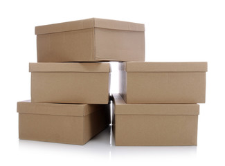 Obraz Stack of cardboard boxes for shoes - fototapety do salonu