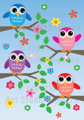 colorful owls on blue background