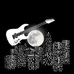 Electric guitar on a background the moon and city