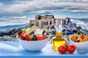 Poster Athens Acropolis with Greek salad in Athens, Greece