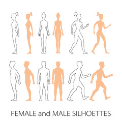 Male female silhouettes front, back and side. Vector
