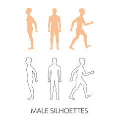 Male silhouettes front, back and side. Vector illustration