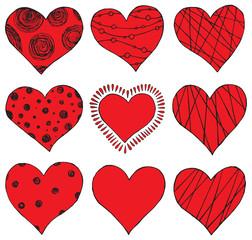 set of hand drawing hearts