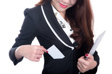Smile Business woman show blank namecard holding computer tablet