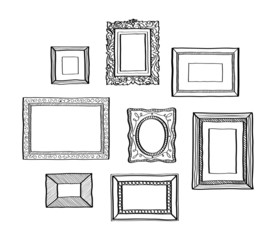 Vector set of vintage photo frames, hand drawn doodle style