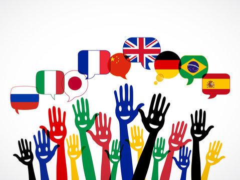 mains bulles : apprendre les langues étrangères