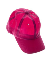 red baseball cap  on white background.