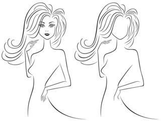 Slender female outlines