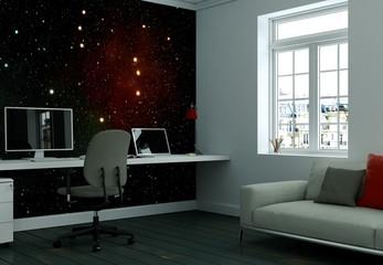 Büro mit Weltall Tapete
