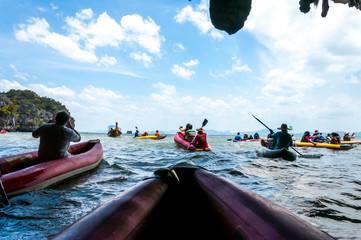 Canoeing through the cave into the lagoon at Phang nga bay, Thai
