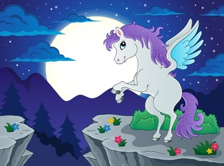 Night scenery with pegasus