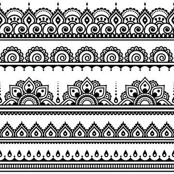 Mehndi, Indian Henna tattoo seamless pattern, design elements