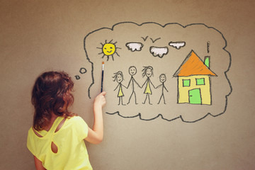 Photo of cute kid imagine a happy family. set of infographics