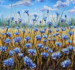 Flower Field. Blue flowers in meadow. Blue sky. Oil painting.  - fototapety na wymiar