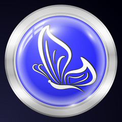 Butterfly Metal Icon