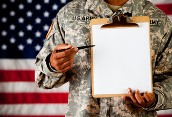 Soldier: Gesturing to Blank Paper on Clipboard