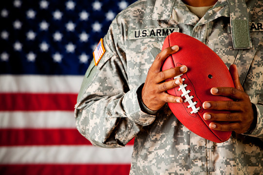 Soldier: Holding a Football