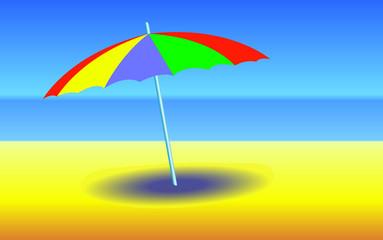 Umbrella on sunny beach