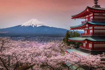 Deurstickers Japan Chureito Pagoda with sakura & Beautiful Mt.fuji View