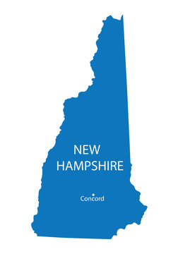 blue map of New Hampshire with indication of Concord