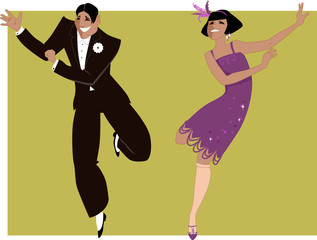 Wall Mural - Young couple dressed in 1920s fashion dancing the Charleston