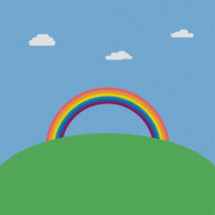 Landscape mosaic background with rainbow over green hill vector