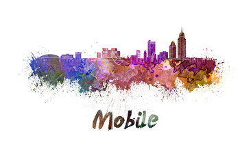 Mobile skyline in watercolor