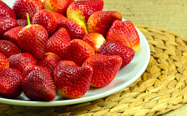 Fresh Strawberry on a Wooden Rustic Dish