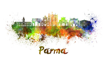 Wall Mural - Parma skyline in watercolor