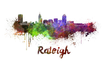 Raleigh skyline in watercolor