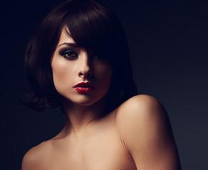 Art portrait of sexy makeup woman in shadows. Closeup portrait