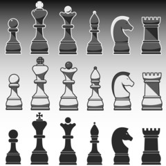 Set of Chess Figures, black, grey and white