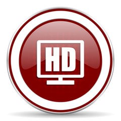hd display red glossy web icon