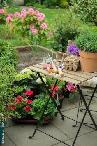 Schone blumen im garten stockfotos und lizenzfreie for Schone gartenpflanzen
