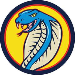 Cobra Viper Snake Head Attacking Circle Cartoon