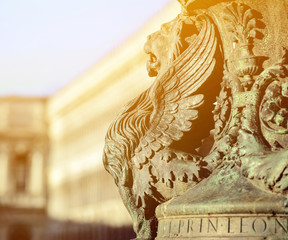 Winged lion statue architectural fragment from Venice. Detail of