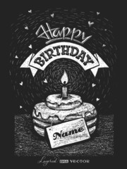 Lettering Happy birthday with nameplate on chalkboard