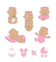 African baby girl vector set