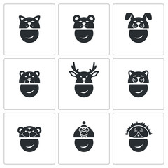 New Years mask Vector Icons Set