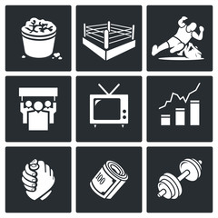 Wrestling Vector Icons Set