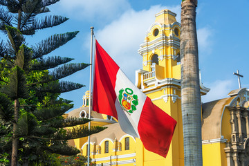 Church and Peruvian Flag