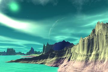 Wall Murals Green coral Fantasy alien planet. Rocks and lake